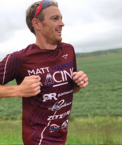 Matt Hanson pro triathlete on training run