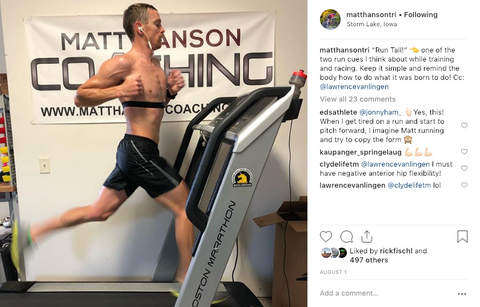 Matt Hanson professional triathlete training on indoor treadmill
