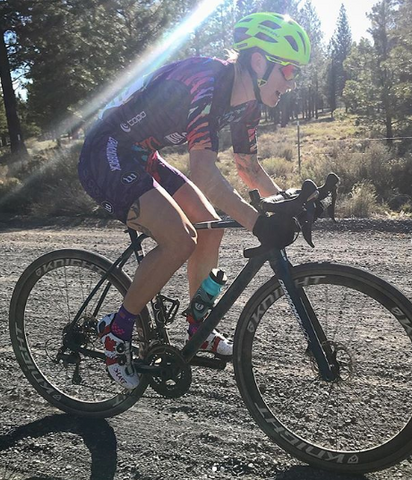 Rachel McBride competing in a gravel bike race