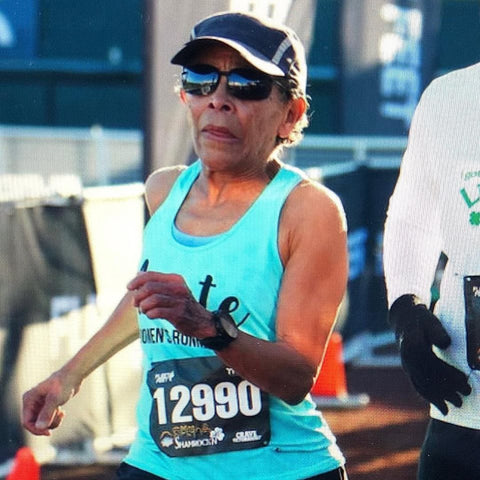 Arete Women's Running Club 70-year-old Brenda Lewis finished the Shamrock'n 5k