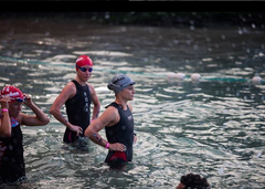 Sarah True professional triathlete at the start of an open water swim