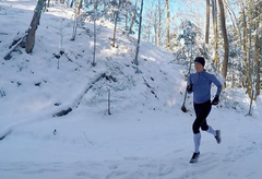 Sarah True, pro triathlete on a winter training running