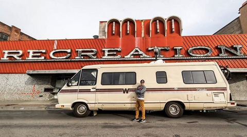 Eric Lagerstrom pro triathlete and his vintage RV named Eleanor