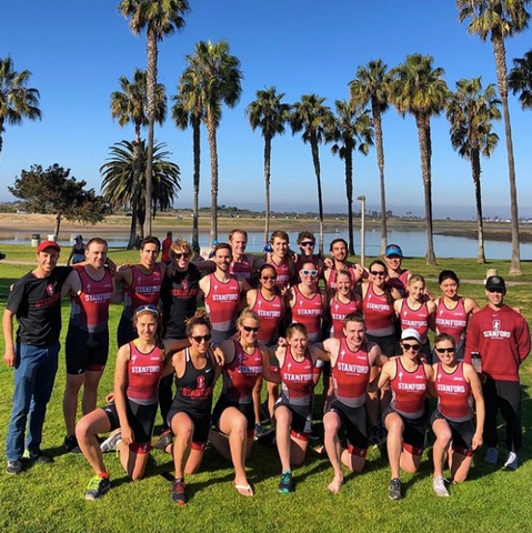 Stanford Triathlon Team Photo on the beach