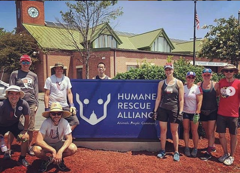 Team District Multisport volunteering at the local Humane Society