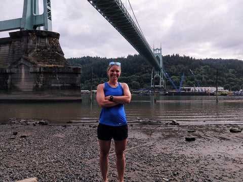 Stacey before the Portland Bridge 11 mile swim race