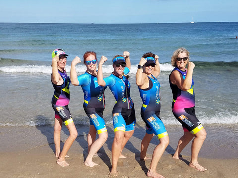 Stellar Endurance team flexing beachside