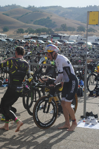 Jesse Thomas Ironman at transition 1 of Wildflower Triathlon