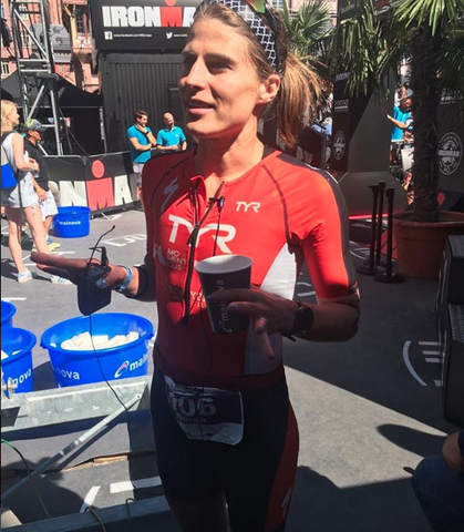 Sarah True post race at Ironman Frankfurt and looking happy with a 2nd place finish.
