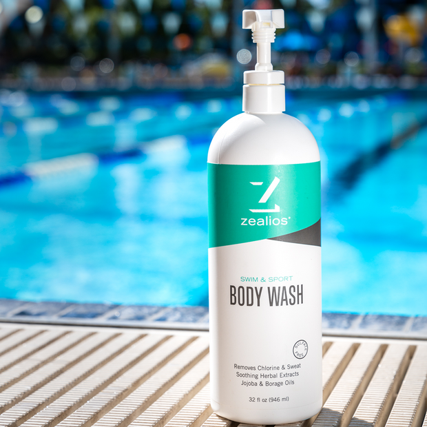 Zealios Swim & Sport Body Wash 32 designed to remove hard minerals like chlorine and sweat