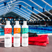 Zealios Swim & Sport shampoo, conditioner and body wash to remove chlorine