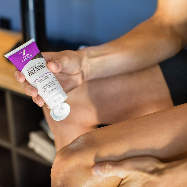 Zealios Race Relief cold therapy muscle gel applied after workout