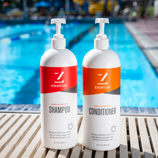 Zealios Swim & Sport Shampoo and Conditioner 32 oz for swimmers