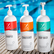 Zealios Swim & Sport shampoo, conditioner and body wash bundle kit to safely remove chlorine