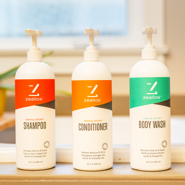 Zealios Swim & Sport shampoo, conditioner and body wash bundle for athletes