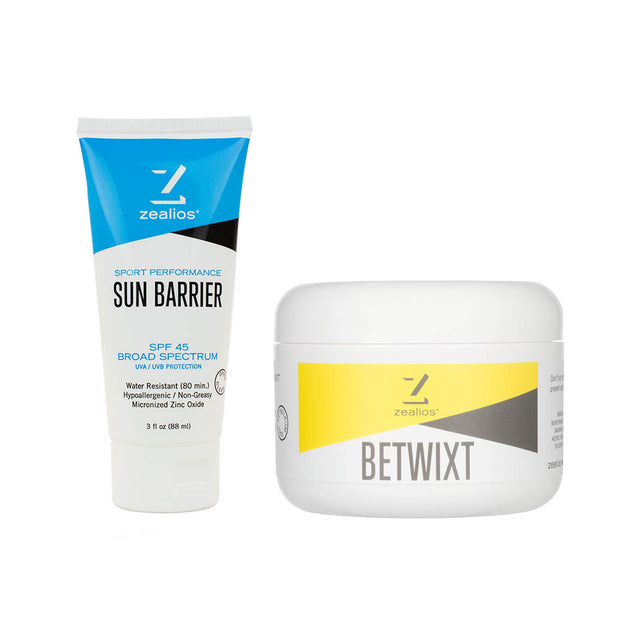 Sun Barrier zinc SPF 45 sunscreen 3 oz + Betwixt all-natural anti-chafing cream 8 oz bundle