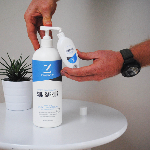 Take your Sun Barrier zinc sunscreen on-the-go with a refillable travel bottle