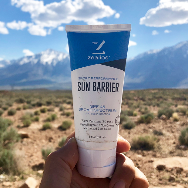 Zealios Sun Barrier SPF 45 zinc sunscreen for any adventure