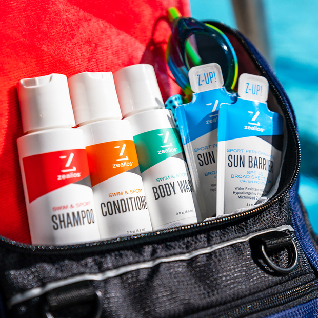 Zealios Travel Pack Shampoo + Conditioner + Body Wash + Sunscreen