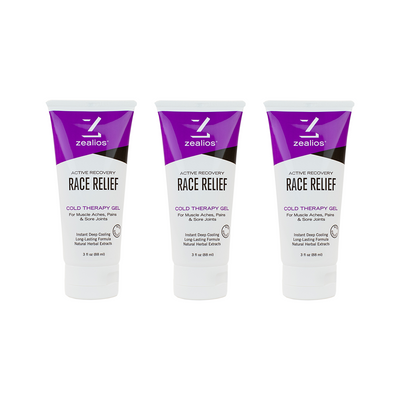 Zealios Race Relief, cold therapy muscle recovery gel 3 pack