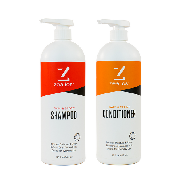 Zealios Swim & Sport Shampoo and Conditioner 32 oz pumps to remove and protect against chlorine