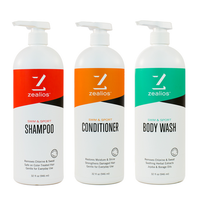 Zealios Swim & Sport shampoo, conditioner and body wash 32 oz bundle kit