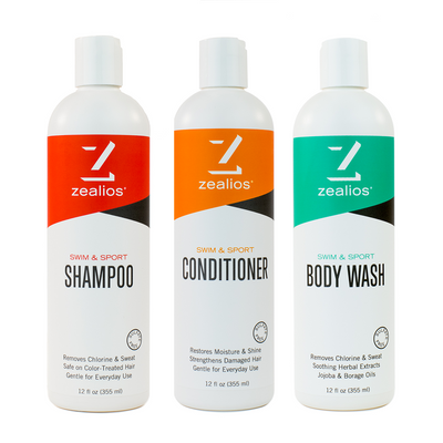 Zealios Swim & Sport shampoo, conditioner and body wash 12 oz bundle kit
