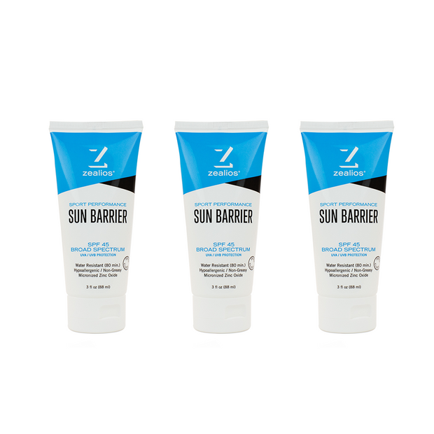 Zealios Sun Barrier SPF 45 zinc sunscreen 3 pack
