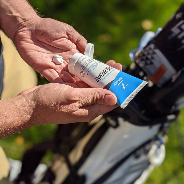 Zealios Sun Barrier zinc sunscreen non-greasy for golfers