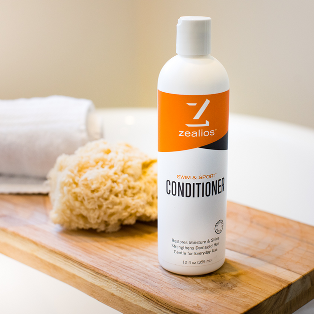 Zealios Swim & Sport Conditioner to hydrate and moisturize hair