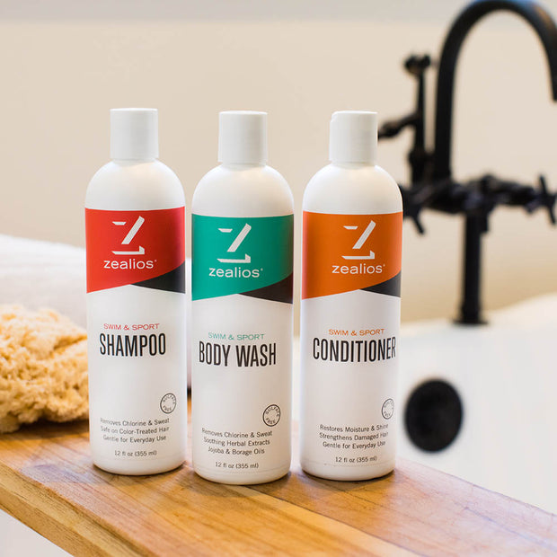 Zealios Swim & Sport shampoo, conditioner and body wash for athletes