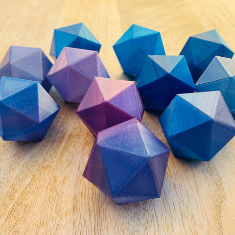 3d printed icosahedrons in nebula