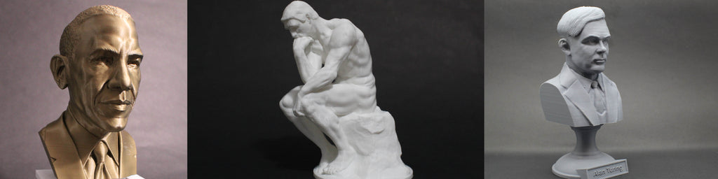 photo of 3d printed sculptures and busts