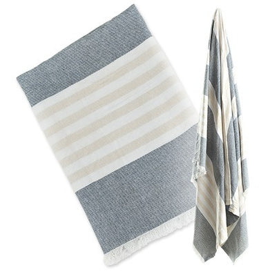 Lulujo Turkish Towel - Classic Navy and Oatmeal