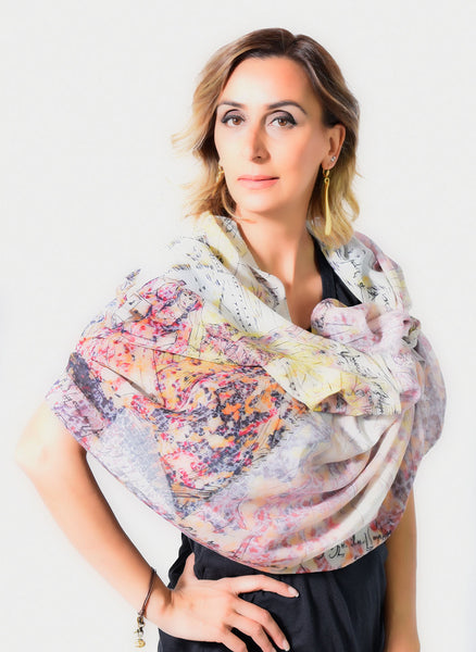 Cotton Silk scarf with fringed edges on both sides.
