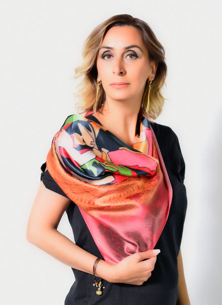 Silk Satin scarf printed with Anet Abnous's original painting Cradle, with Crochet design
