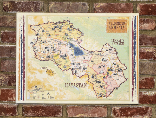 Canvas Art of Map Of Armenia by Anet's Collection