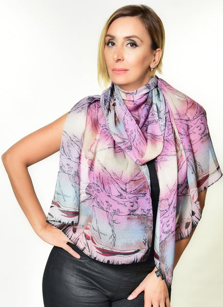 Lost in the Woods Pink Nude scarf