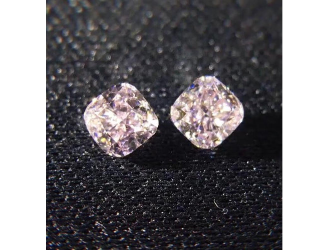 Cushion, 1.60 Total Carat Weight, Very Light Pink, SI2 Pair.