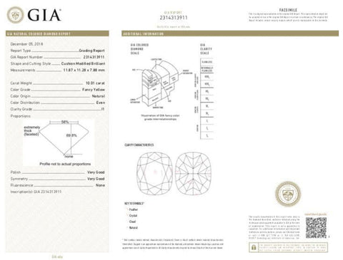 Cushion, 10.01 Carat, Fancy Yellow, I1. GIA Diamond's Grading Report.
