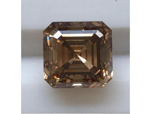 Asscher, 2.18 Carat, C6 VVS2. Natural Cognac Diamond