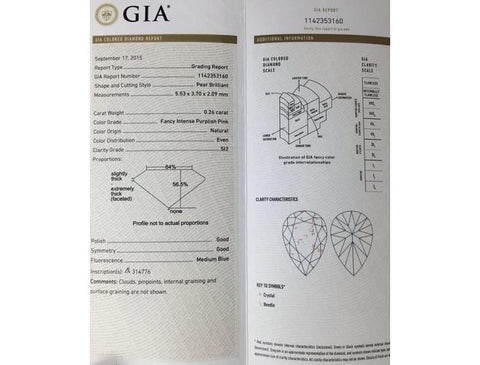 Gia / Argyle Pear 0.26 Carat Fancy Intense Purplish Pink SI2 Clarity Diamond.