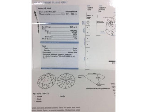 Argyle, Round, 0.37 Carat, Fancy pink, SI1. GIA Diamond's Grading Report.