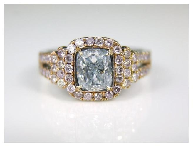 GIA Cushion 1.26 Carat Very Light Blue SI2 Clarity Diamond Ring.