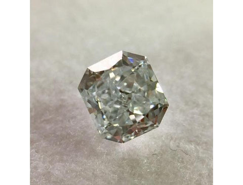Natural Loose Radiant, 0.41 Carat, Fancy Light Greenish Blue, SI1 Diamond. DahanCollection.Com