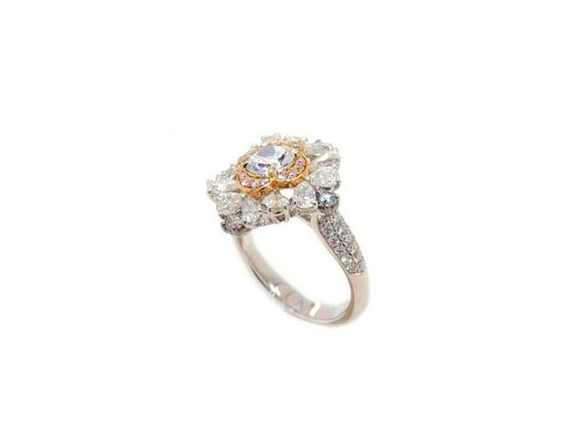 GIA Cushion 0.61ct. Light Blue SI1. Natural Blue Diamond Ring