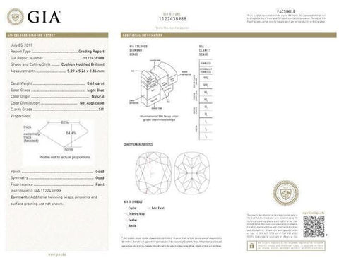 Cushion, 0.61 Carat, Light Blue, SI1 Clarity Diamond's GIA Certificate.