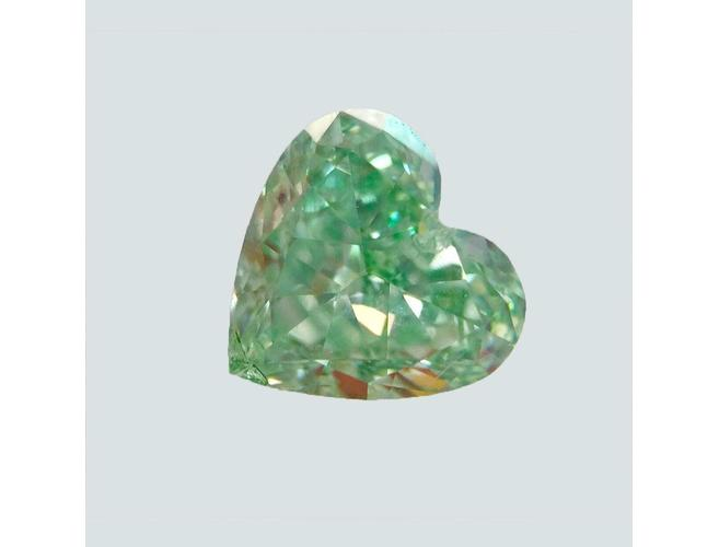 GIA Heart 0.53 Carat Fancy Green SI1 Clarity Diamond.