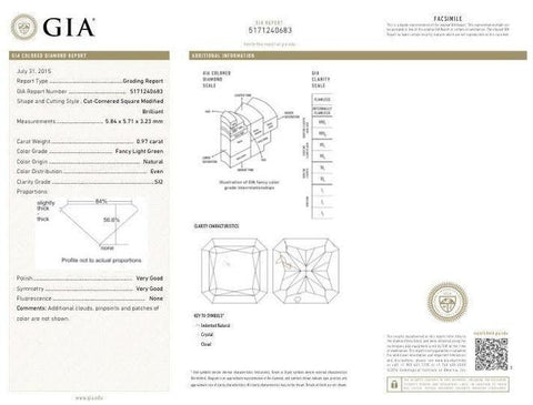 GIA Radiant 0.97 Carat Fancy Light Green SI2 GIA Report-ColorDiamondsNet