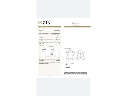 Radiant, 1.46 Carat, Fancy Light Green, SI2. Diamond's GIA Report.